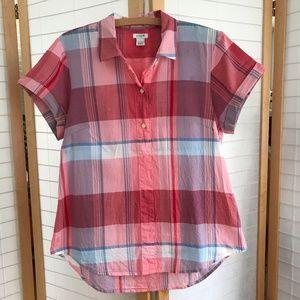 J. Crew plaid cotton camp shirt red & blue Medium